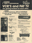 VCR's and Pay TV! New concepts once upon a time, and ABM was at the technical forefront.